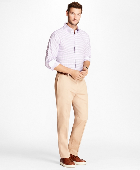 NWT BROOKS BROTHERS MEN FLAT FRONT ADVANTAGE CHINO CLARK PANT SUPIMA  $108.00