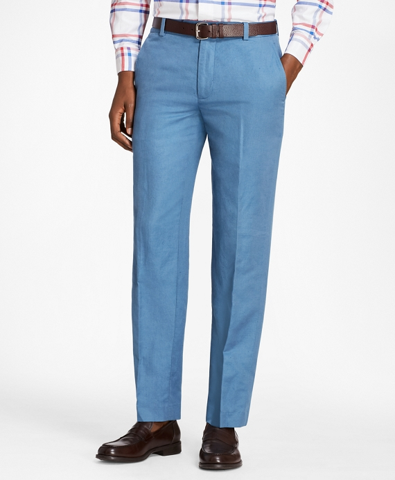 Milano Fit Linen and Cotton Chino Pants Blue