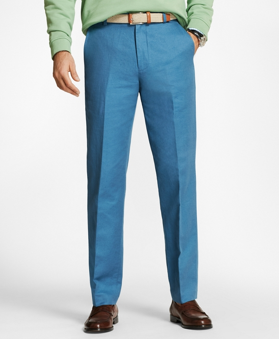 Clark Fit Linen and Cotton Chinos Blue