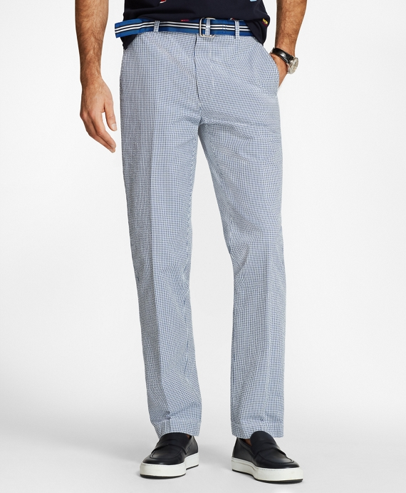 Clark Fit Gingham Seersucker Pants Navy
