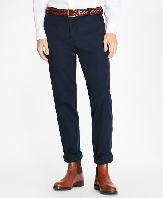 Clark Fit Flannel Lined Chinos Navy