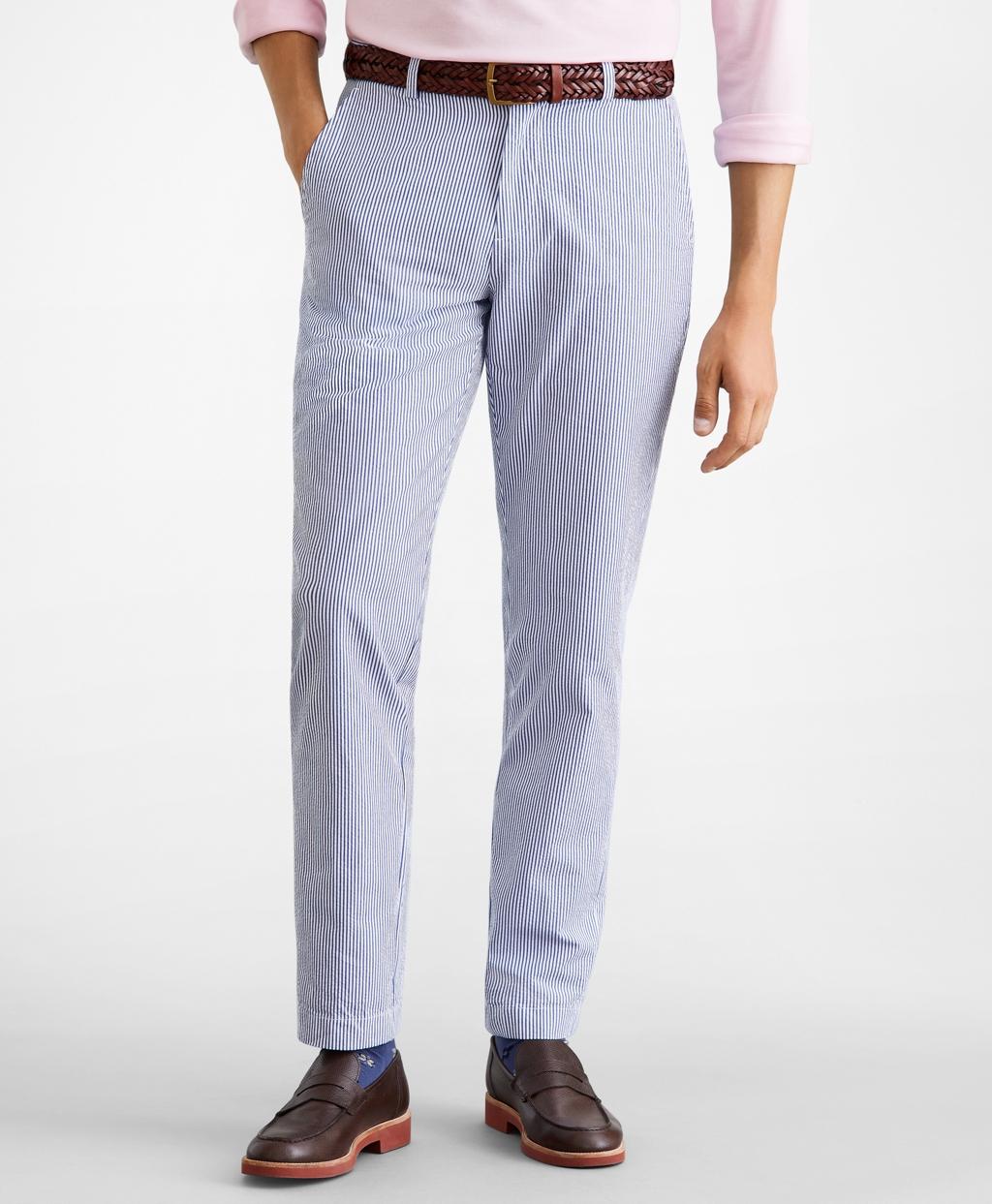 Men's Vintage Pants, Trousers, Jeans, Overalls Brooks Brothers Mens Extra Slim Fit Stripe Seersucker Pants $49.25 AT vintagedancer.com