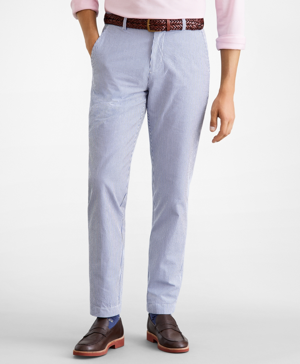 1920s Men's Pants, Trousers, Plus Fours, Knickers Brooks Brothers Mens Extra Slim Fit Stripe Seersucker Pants $49.25 AT vintagedancer.com