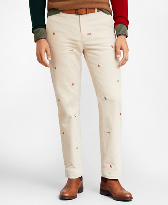 Clark Fit Embroidered Corduroy Pants