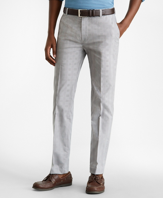 Milano Fit Glen Plaid Stretch Advantage Chino® Pants Grey