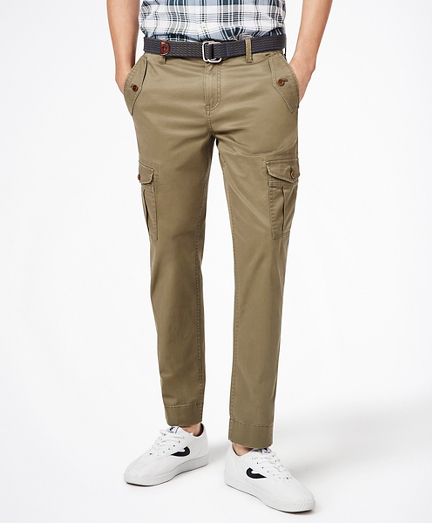 Washed Cotton Stretch Cargo Pants