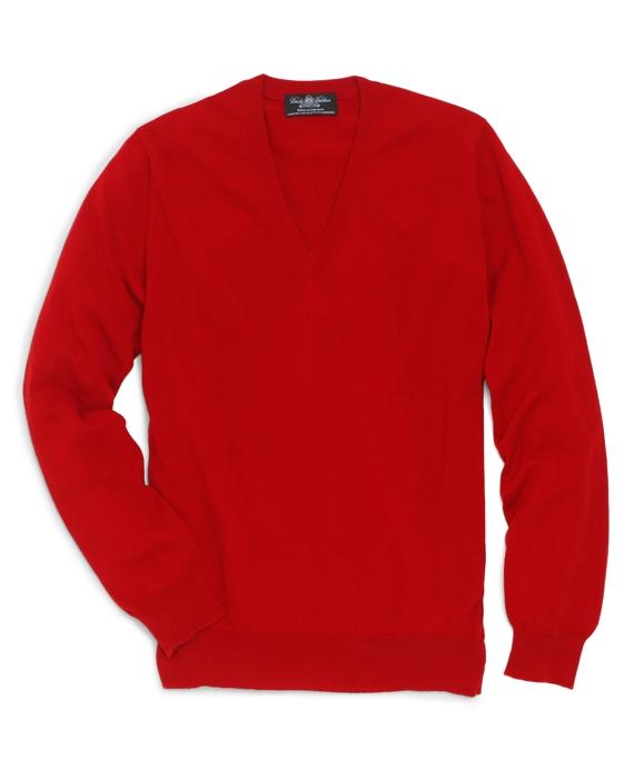 Country Club Lightweight Cashmere V-Neck Red
