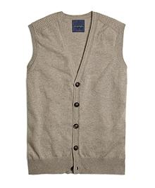 Cream Cashmere Button-Front Vest