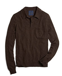 Brown Cashmere Knit Polo