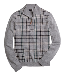 Saxxon Wool Plaid Half-Zip Sweater