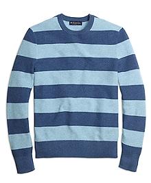 Cotton Cashmere Stripe Crewneck Sweater