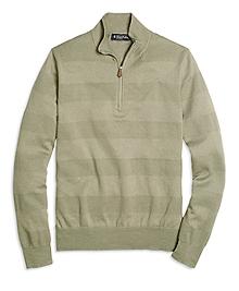 Textured Stripe Half-Zip Sweater