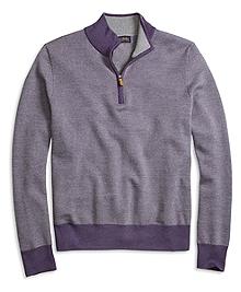 Merino Wool Bird's-Eye Half-Zip Sweater