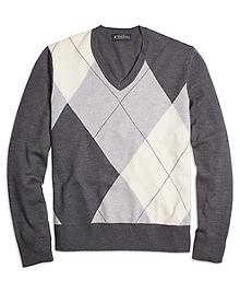 Merino Wool Argyle V-Neck Sweater
