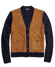 Suede and Lambswool Cardigan