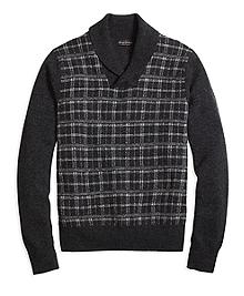 Saxxon Wool Plaid Shawl Collar Sweater