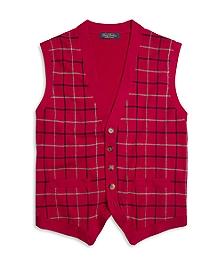 Saxxon Wool Tattersall Button-Front Vest