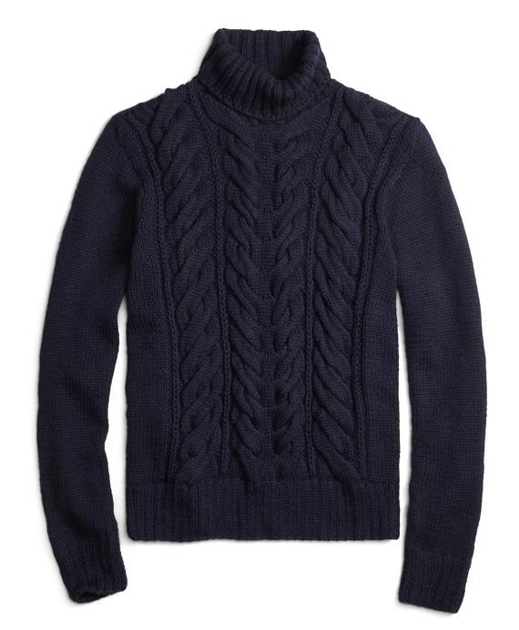 Alpaca Handknit Cable Turtleneck Sweater Navy