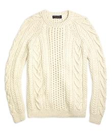 Handknit Aran Cable Crewneck Sweater