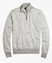 Supima® Cotton Pique-Stitch Stripe Half-Zip Sweater