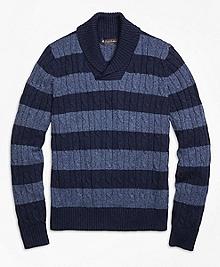 Supima® Cotton Stripe Shawl Collar Sweater