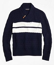 Texture Stitch Chest Stripe Shawl Collar Sweater