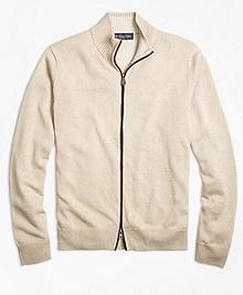 Contrast Tip Full-Zip Cardigan