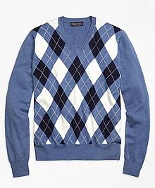 Supima® Cotton Argyle V-Neck Sweater