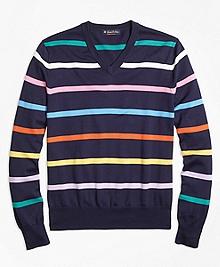Supima® Cotton Multi Stripe V-Neck Sweater