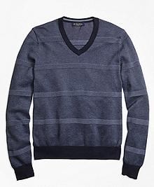 Oxford Pique Stripe V-Neck Sweater