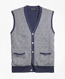 Supima® Cotton Cashmere Glen Plaid Button-Front Vest