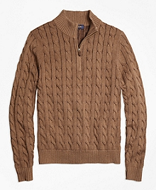 Supima® Cotton Cashmere Cable Half-Zip Sweater