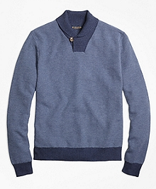 Supima® Cotton Cashmere Honeycomb Shawl Collar Sweater