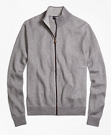 Supima® Cotton Cashmere Ribbed Full-Zip Cardigan