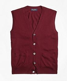 Saxxon Wool Button-Front Sweater Vest