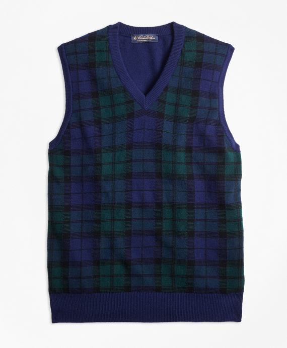 Cashmere Black Watch Plaid Vest Navy-Green