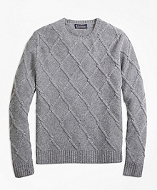 Lambswool Lattice Cable Knit Crewneck Sweater