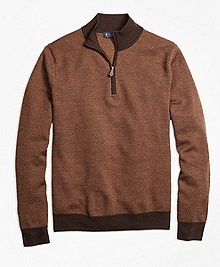 Merino Wool Herringbone Half-Zip Sweater