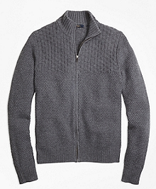 Wool Cashmere Heritage Textured Full-Zip Sweater