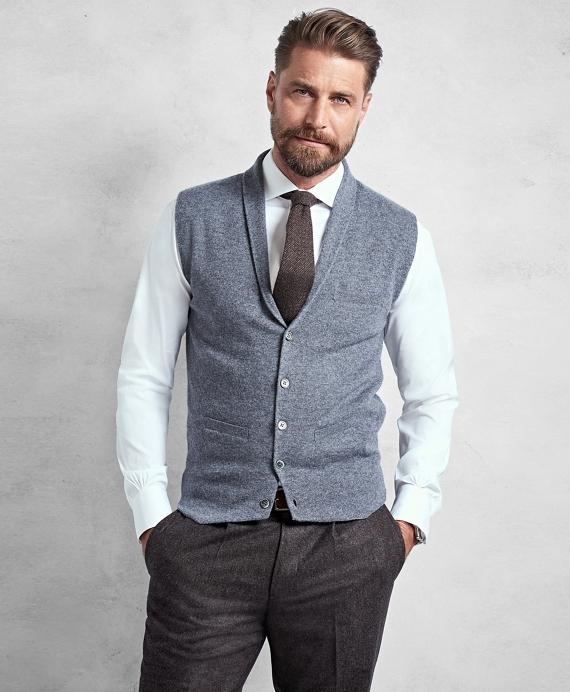 Golden Fleece® 3-D Knit Cashmere Shawl Collar Sweater Vest Grey