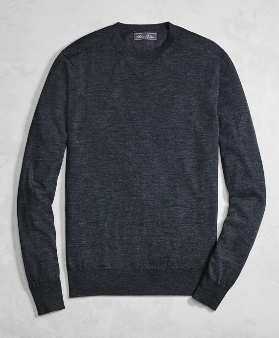 Golden Fleece® 3-D Knit Fine-Gauge Merino Wool Crewneck Sweater Charcoal