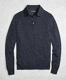 Golden Fleece® 3-D Knit Fine-Gauge Merino Wool Polo Sweater