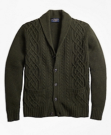 Braemar for Brooks Brothers Cable Shawl Collar Cardigan