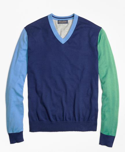 Cotton-Cashmere Colorblock V-Neck Sweater