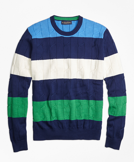 Cable Knit Slub Stripe Crewneck Sweater
