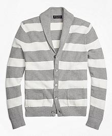 Double-Pique Stripe Shawl Collar Cardigan