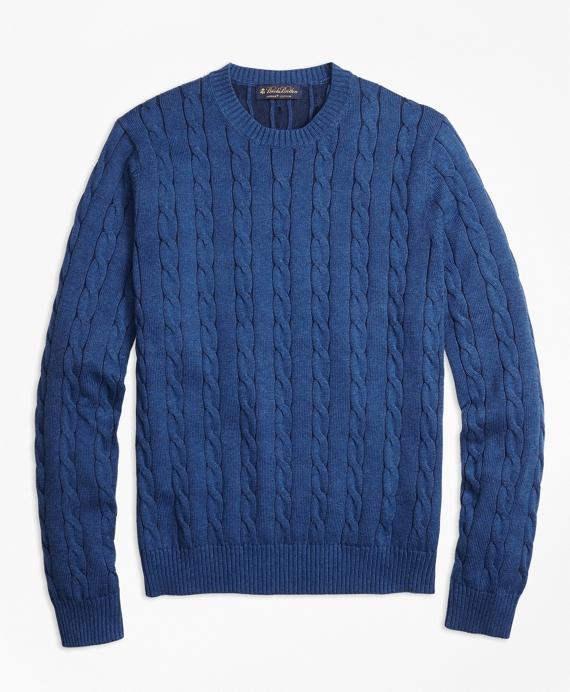 Supima® Cotton Cable Knit Crewneck Sweater Blue