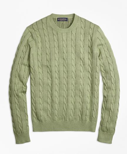 Supima® Cotton Cable Knit Crewneck Sweater