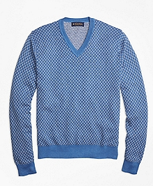 Supima® Cotton Cashmere Jacquard V-Neck Sweater