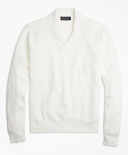 Cotton and Silk Shawl-Collar Beach Sweater